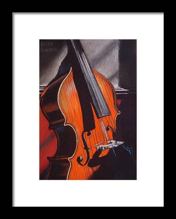 Upright Bass Framed Print featuring the pastel And Daddy Played Bass by Keith Gantos