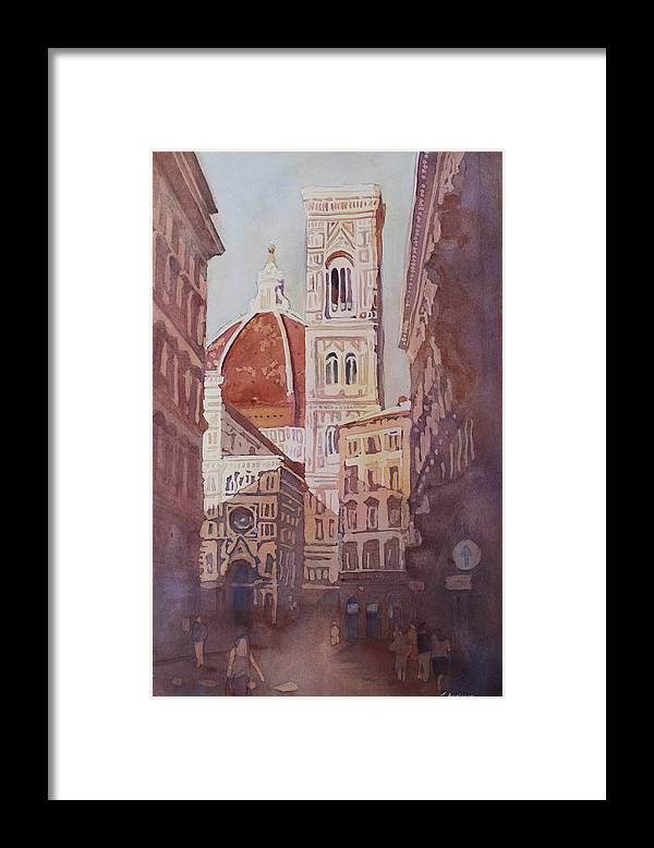 Duomo Campainula Framed Print featuring the painting And Suddenly The Duomo by Jenny Armitage