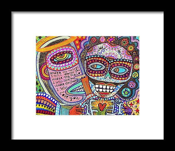 Framed Print featuring the painting Angel And Frida Sugar Skull Lovers' by Sandra Silberzweig