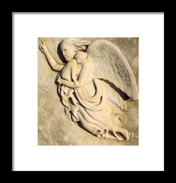 Infant Grave Site Framed Print featuring the photograph Angel And Infant by Julie Lee