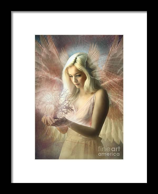 Digital Art Framed Print featuring the digital art Angel Jehoel by Babette Van den Berg