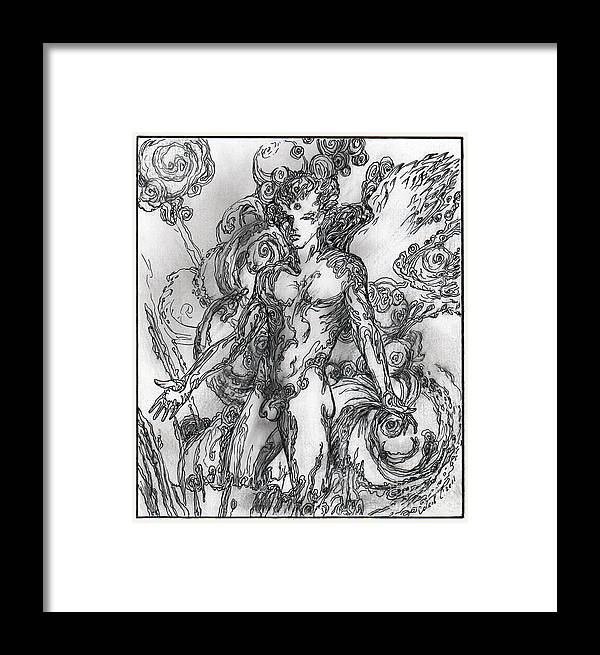 Angel Framed Print featuring the drawing Angel by Sergey Sovkov
