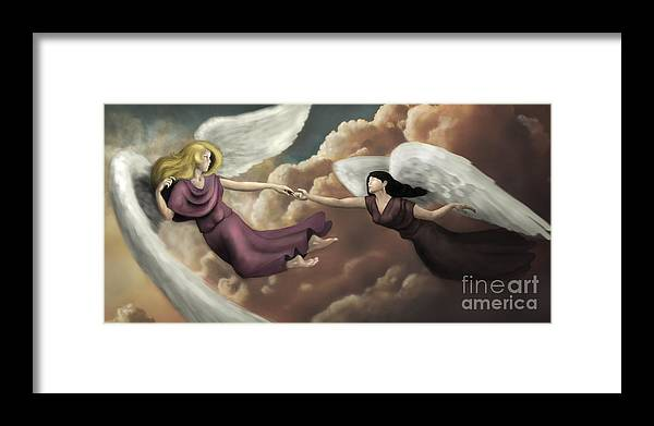Angel Framed Print featuring the digital art Angels by Magne Mjosund