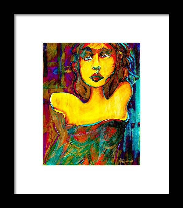 Acrylic Framed Print featuring the painting Angie by Hope Mastroianni