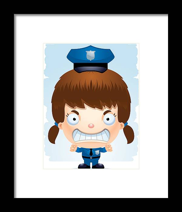 Angry Cartoon Girl Police Officer Framed Print By Cory Thoman