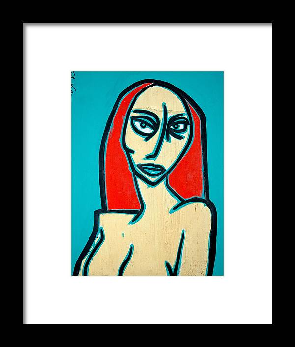 Oil Framed Print featuring the painting Angry Jen by Thomas Valentine