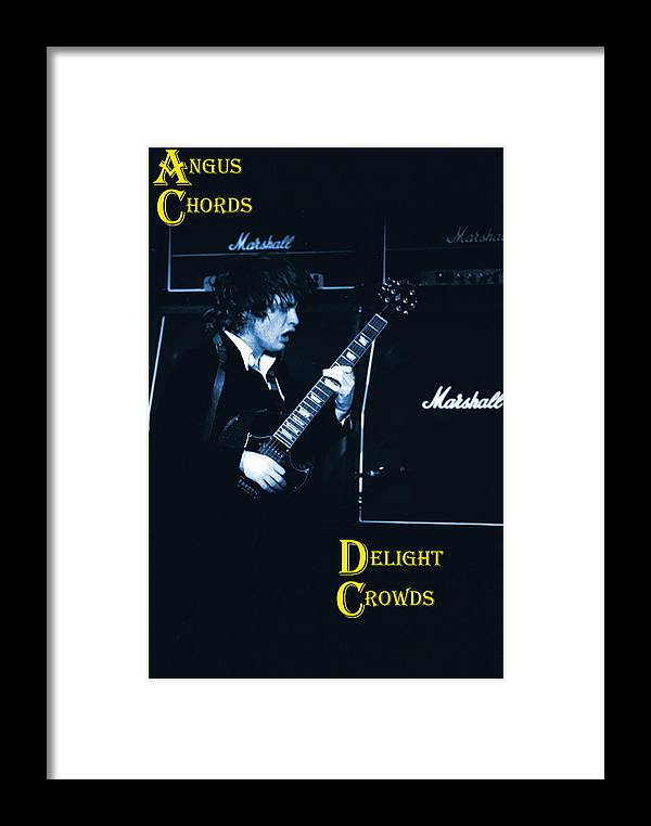 Angus Young Framed Print featuring the photograph Angus Chords Delight Crowds In Blue by Ben Upham