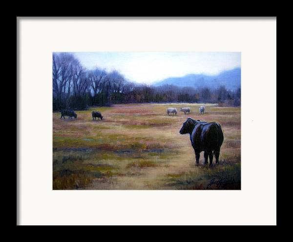 Angus Steer Framed Print featuring the painting Angus Steer In Franklin Tn by Janet King