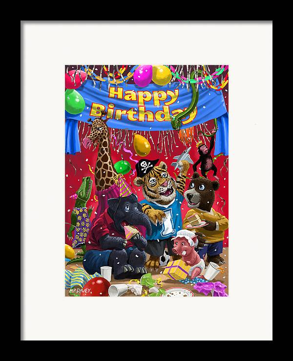 Birthday Framed Print featuring the painting Animal Birthday Party by Martin Davey