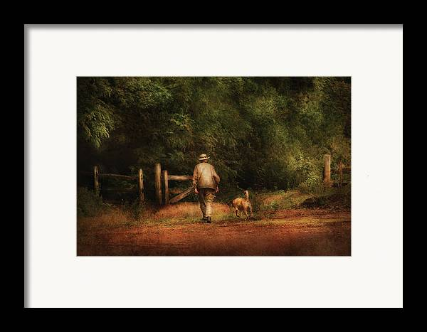 Savad Framed Print featuring the photograph Animal - Dog - A Man And His Best Friend by Mike Savad