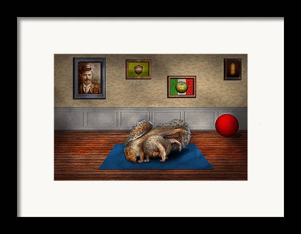 Squirrel Framed Print featuring the photograph Animal - Squirrel - And Stretch Two Three Four by Mike Savad