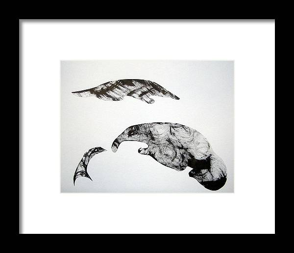 Cut & Paste Framed Print featuring the drawing Animal World 121217-3 by Aquira Kusume