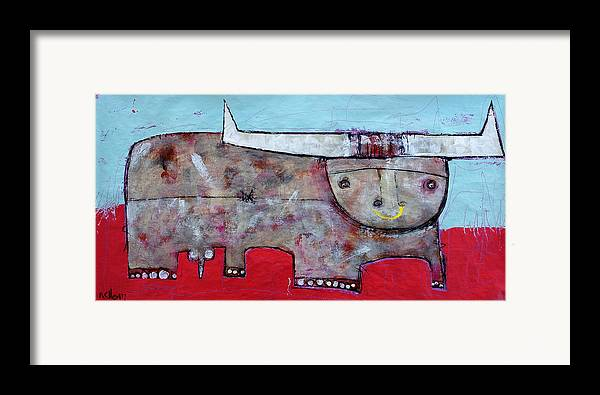 Abstract Paintings Framed Print featuring the painting Animalia Taurus 1 by Mark M Mellon