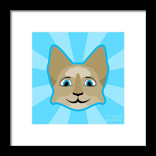 Mydeas Framed Print Featuring The Digital Art Anime Cat Face With Blue Eyes By Angela Allwine