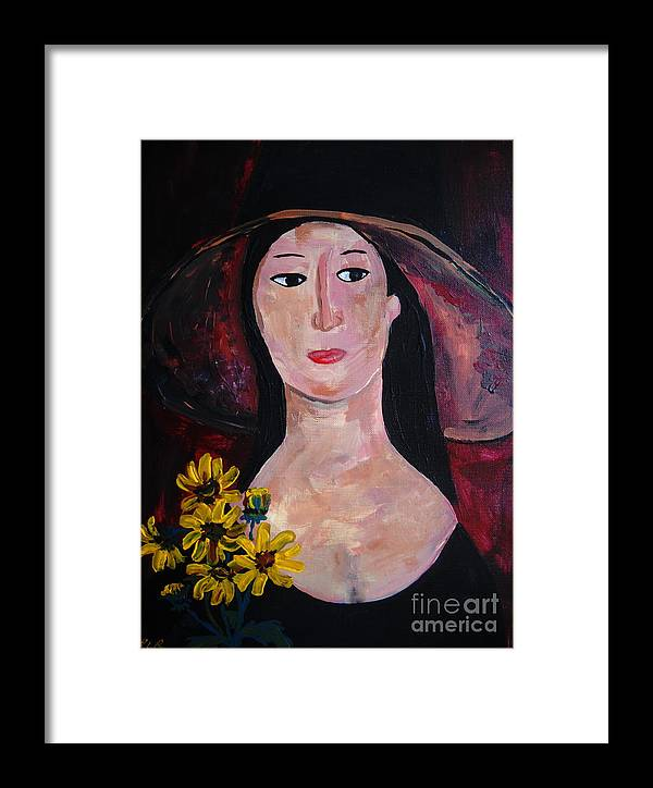 Woman Framed Print featuring the painting Anna by Reina Resto