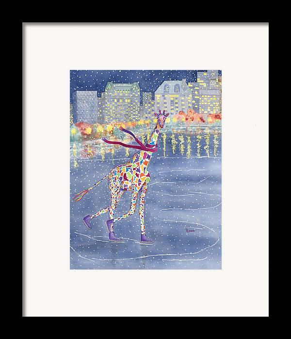 Giraffe Framed Print featuring the painting Annabelle On Ice by Rhonda Leonard
