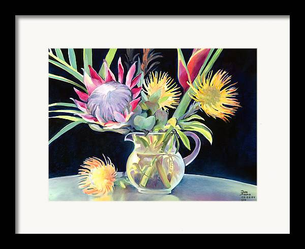Copal Oil Framed Print featuring the painting Anna's Protea Flowers Transparent by Don Jusko