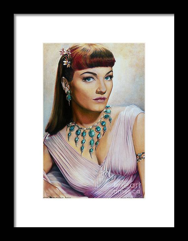 Anne Baxter Framed Print featuring the drawing Anne Baxter In Ten Commandments @ Ariesartist.com by AriesArtist Com