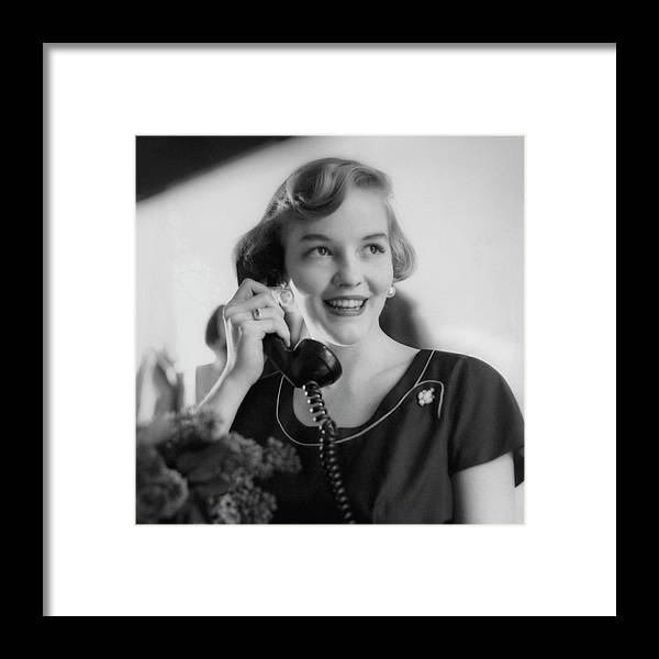 Literary Framed Print featuring the photograph Anne Schroeder Anderson With A Telephone by Karen Radkai