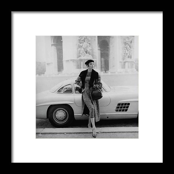Fashion Framed Print featuring the photograph Anne St. Marie By A Mercedes-benz Car by Henry Clarke