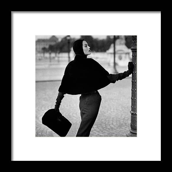 Fashion Framed Print featuring the photograph Anne St. Marie Wearing A Sealskin Cape by Henry Clarke