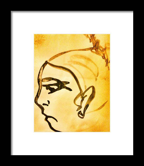 Lady Annoyed Angry Yellow Brown Framed Print featuring the painting Annoyed by Vineeth Menon