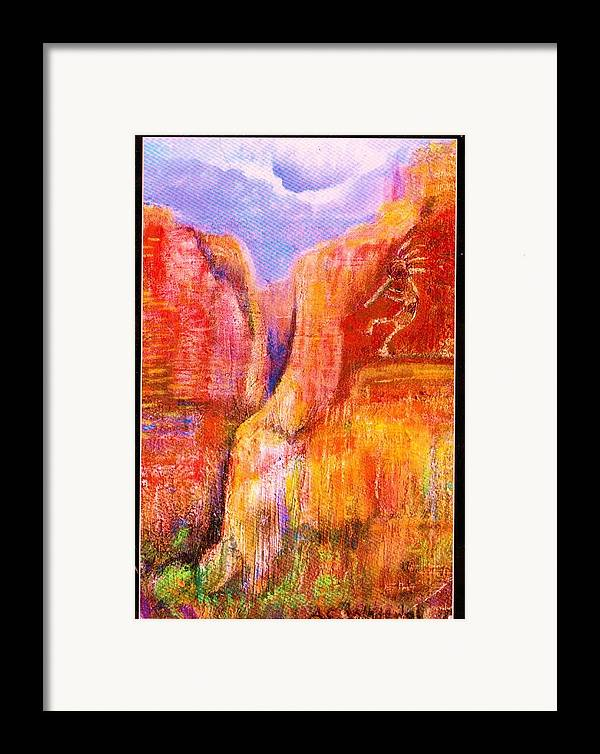 Kokoopelli Framed Print featuring the painting Another View Of Kokopelli by Anne-Elizabeth Whiteway