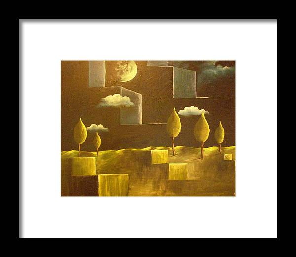 Surrealism Framed Print featuring the painting another World by Birgit Schnapp