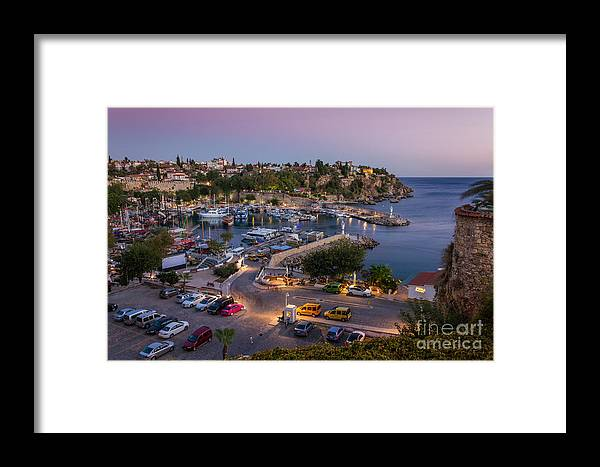 Night Framed Print featuring the photograph Antalya Harbour by Bahadir Yeniceri