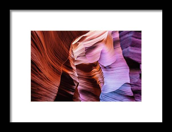 Curve Framed Print featuring the photograph Antelope Canyon Spiral Rock Arches by Deimagine