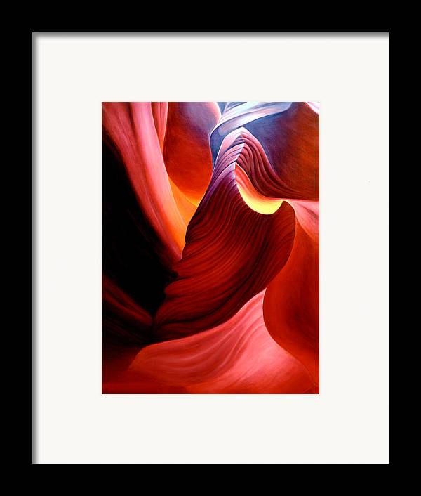 Antelope Canyon Framed Print featuring the painting Antelope Magic by Anni Adkins