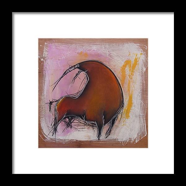 Charcoal Framed Print featuring the painting Antibullfight II by Dianaya Anaya