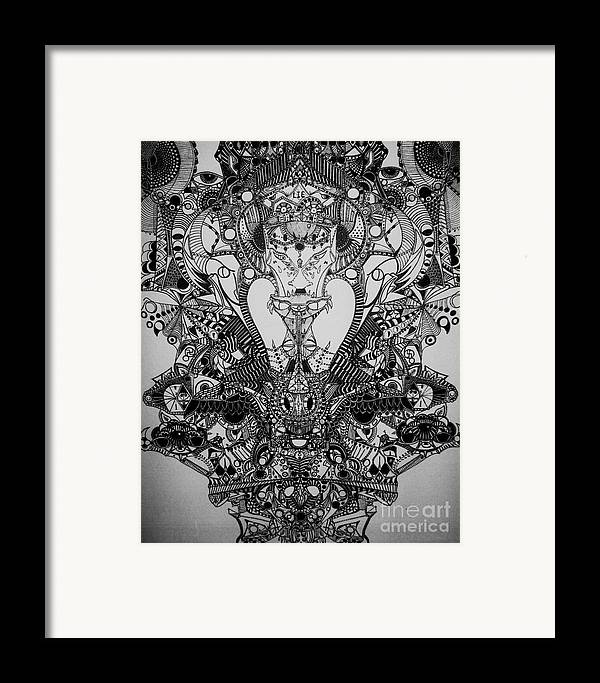 Michael Kulick Framed Print featuring the drawing Antichrist by Michael Kulick