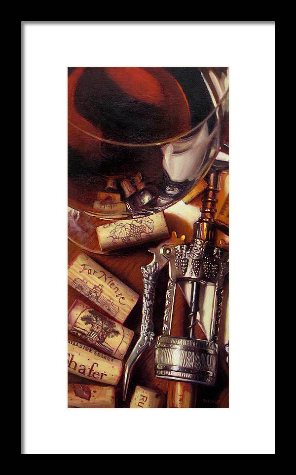 Wine Still Life. Red Wine Framed Print featuring the painting Anticipation by Takayuki Harada