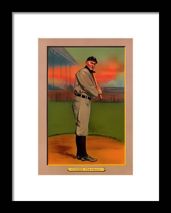 Antique Baseball Card - Ty Cobb Framed Print by Mountain Dreams