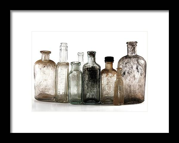 Bottles Framed Print featuring the digital art Antique Bottles by Richard Ortolano