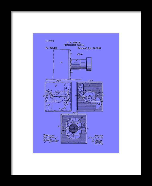 Patent Framed Print featuring the drawing Antique Camera Patent 1883 by Mountain Dreams