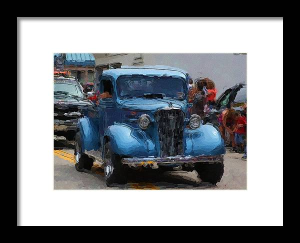 Blue Framed Print featuring the digital art Antique Chevy Truck In Parade by George Ferrell