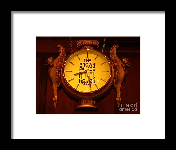 Antique Clock Art Framed Print featuring the photograph Antique Clock At The Bown Palace Hotel by John Malone