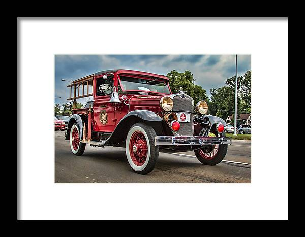 Antique Framed Print featuring the photograph Antique Fire Engine by Pat Eisenberger