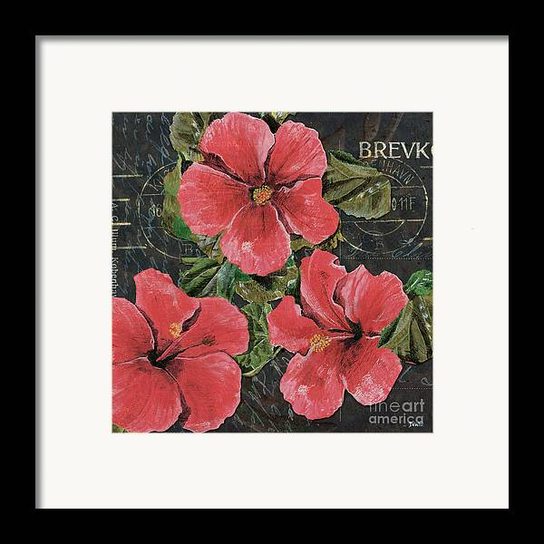 Pink Framed Print featuring the painting Antique Hibiscus Black 3 by Debbie DeWitt
