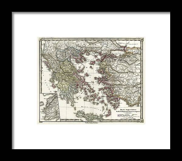 Ancient History Framed Print featuring the digital art Antique Map Of Ancient Greece by Duncan1890