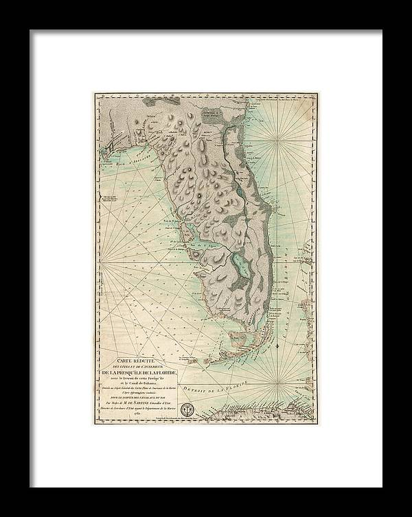 Antique map of florida 1780 framed print by blue monocle florida framed print featuring the drawing antique map of florida 1780 by blue monocle gumiabroncs Images