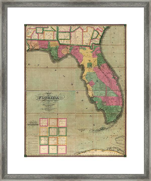 Antique Map Of Florida By I G Searcy 1829 Framed Print By Blue