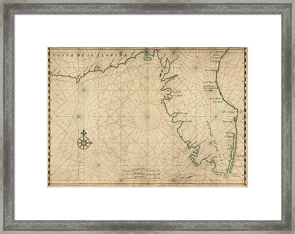 Antique Map Of Florida By Joan Vinckeboons Circa 1639 Framed Print