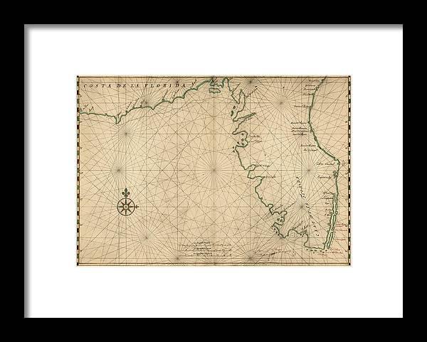 Antique Map Of Florida By Joan Vinckeboons Circa 1639 Framed Print