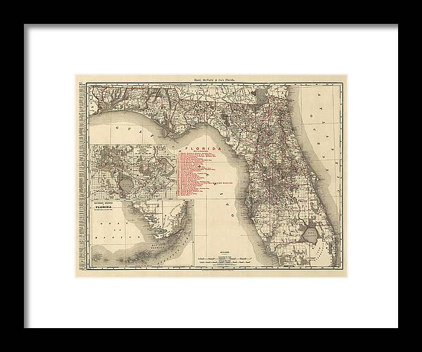 Antique Map Of Florida By Rand Mcnally And Company 1900 Framed