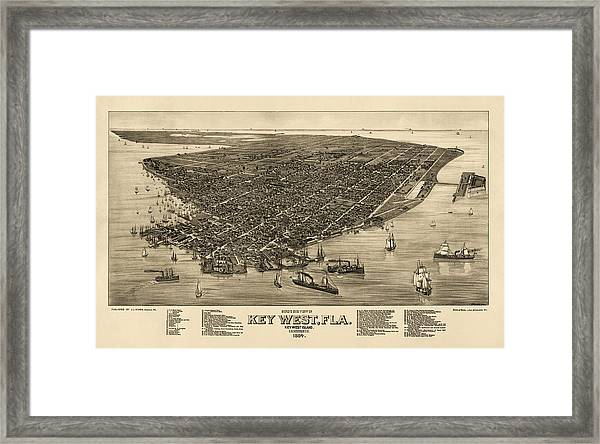 graphic regarding Printable Map of Key West identified as Antique Map Of Mystery West Florida By way of J. J. Stoner - 1884 Framed Print