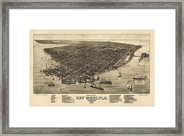 image about Printable Map of Key West identify Antique Map Of Major West Florida As a result of J. J. Stoner - 1884 Framed Print