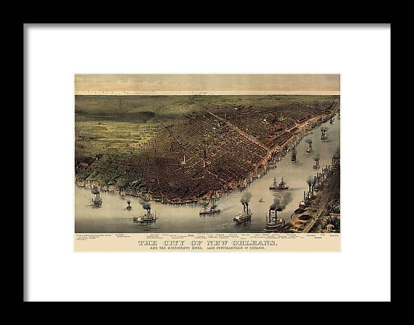 New Orleans Framed Print featuring the drawing Antique Map Of New Orleans By Currier And Ives - Circa 1885 by Blue Monocle